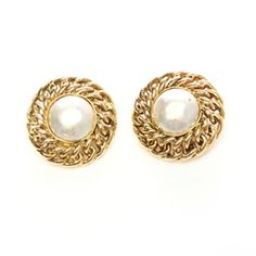 Chanel Vintage Gold-Tone Faux Pearl Earrings - $199.99