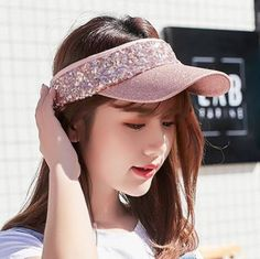 d03a672835b Sequins sun visor hat for women summer UV protection hats