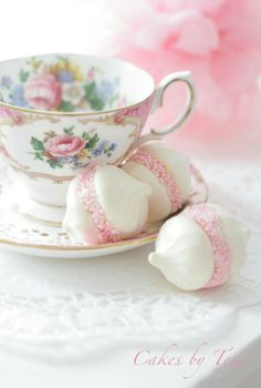 Lady Carlyle pattern, Royal Albert. Meringue Kiss cookies, frosting center, and decorated with tiny nonpareil. So pretty!