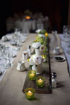 Rustic Centerpieces with Wood Plank
