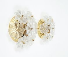 Ernst Palme Pair of Refurbished Glass Flower Sconces, circa 1970
