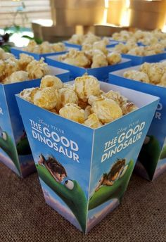 The Good Dinosaur Popcorn Boxes 1st Birthday Themes, Second Birthday Ideas, Dinosaur Birthday Party, 4th Birthday Parties, Dinosaur Movie, The Good Dinosaur, Cupcake Birthday Cake, Cupcake Party, Kids Birthday Pictures