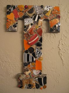 Mosaic Letter T in Black and Orange Stripes with Tiger Mosaic Art