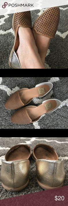DV flats DV (Dolce Vita) cognac color, wore a few times, because they are open in many ways dirt particles found their way in, no damage at all. Perfect for shorts, dresses and skinny jeans! I will disinfect them with a wash cloth and alcohol before shipping. DV by Dolce Vita Shoes Flats & Loafers