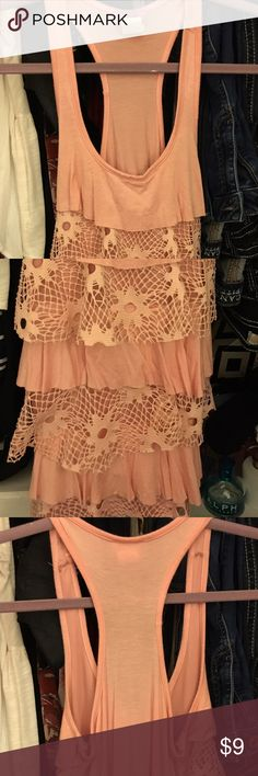 Ruffle Lace Tank Top Brand new been in my closet for close to 3 years, it's now to small on me Tops Tank Tops