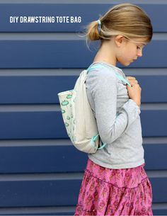 Make this simple kid's drawstring backpack for all of your summer adventures! A perfect beginner sewing tutorial for you. Sewing Projects For Kids, Sewing For Kids, Diy Projects, Sewing Hacks, Sewing Tutorials, Sewing Kits, Sewing Crafts, Bag Tutorials, Sewing Ideas