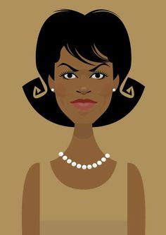 Michelle Obama By Stanley Chow Character Drawing, Character Illustration, Character Design, Portrait Illustration, Art Pictures, Art Images, Photos, Stanley Chow, Obama Cartoon
