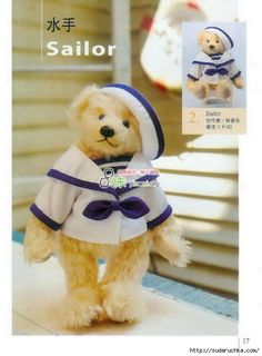 Cute sailor teddy bear with pattern template.