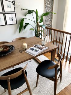 Mid century inspired dining room, ikea morbylanga table, wood table and chairs. Ikea Dining Room Furniture, Ikea Dining Table, Dinning Chairs, Home Furniture, Wood Table, Walnut Dining Chairs, Dining Room Inspiration, Home Decor Bedroom, Cheap Home Decor
