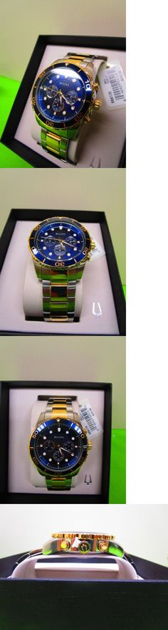 Mens 64518: Bulova Mens Two Tone Gold Stainless Steel Blue Chronograph Classic Watch 98A170 BUY IT NOW ONLY: $110.0