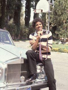 Michael Jackson - 1979  sitting on his Rolls Royce at home in Encino California
