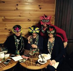 Fancy beaded and feather-masked revelers bedecked for our Mardi Gras Happy Hour celebration! Food Events, Mardi Gras, Happy Hour, Celebration, Feather, Fancy, Wine, Halloween, Amazing