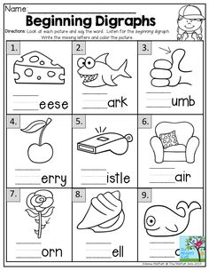 Beginning Digraphs- Look at each picture and say the word.  Write the missing letters and color the picture.  This one is found in the Summer Review NO PREP Packet for Kindergarten.  This packet is loaded with TONS of fun activities to keep students learning through the summer months.