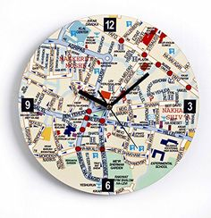 175cm 1 small world map clock clock diy pinterest clocks jerusalem map glass wall clock english artori design httpsamazon gumiabroncs Choice Image