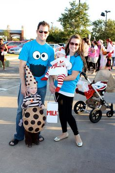 Family costume idea! Milk, cookie & cookie monsters! via The Tichenor Family Blog