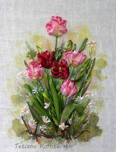 Quadro-ricamato-in-Tulipani-tecnica-silk-ribbon-embroidery