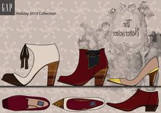 Design brief for GAP New York. Womens footwear and accessories for Holiday 2014.  Footwear collection.