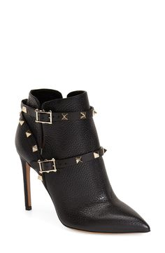 Living for these edgy Valentino 'Rockstud' pointy toe booties!