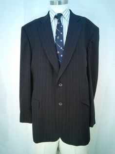 Stafford Men's Blazer - Blue- Size 46L - 2 Button Style - Fully Lined No Vents #Stafford #2Button $13.41