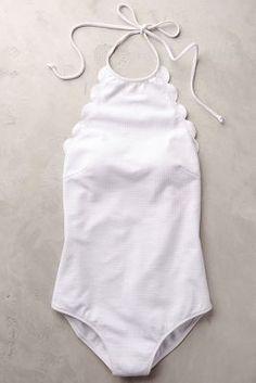 Marysia Scalloped One-Piece White Swimwear #anthrofave
