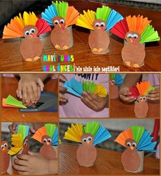 artık materyal - renkli hindiler :)