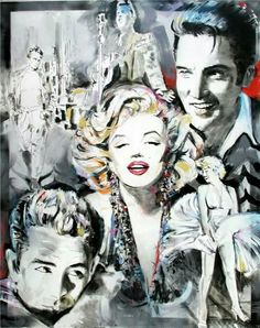 Image shared by Cenika. Find images and videos about Marilyn Monroe, Elvis Presley and james dean on We Heart It - the app to get lost in what you love. James Dean Marilyn Monroe, Marilyn Monroe Drawing, Marilyn Monroe Quotes, Marylin Monroe, Elvis Presley Posters, Pop Art Portraits, Portrait Paintings, Old Movie Stars, Pin Up