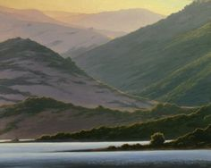 """Northern California Landscape Painting, """"Lake and Hills at Dawn"""", Limited Edition Giclée Print, www.terrysauve.com"""