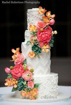 Floral Wedding Cakes Textured wedding cake: A white wedding cake with chevron and floral tiers decorated with faux pink and orange peonies, roses and succulents. Floral Wedding Cakes, Floral Cake, Wedding Cake Designs, Purple Wedding, Spring Wedding, Gold Wedding, Gorgeous Cakes, Pretty Cakes, Cake Wrecks