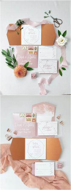 Rose Gold, Blush Pink & Marble Modern Geometric Water Color Wedding Invitation with Details and RSVP #weddings #invitations #weddinginvitations #weddingcards