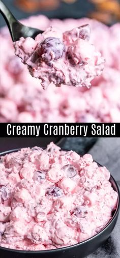 This Creamy Cranberry Salad, otherwise known as Cranberry Fluff, is a delicious combination of fresh cranberries, red grapes, pineapple, marshmallows, and pecans all tossed together in Cool Whip. This easy cranberry salad can be served as a Thanksgiving or Christmas side dish or dessert. I classic southern holiday recipe that the whole family will love. #cranberry #cranberries #thanskgiving #christmas #homemadeinterest