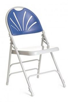 Prima Plus Folding Chair Grey Frame Blue Back