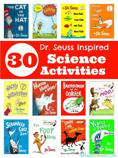 Seuss Inspired Science Activities - Science activities inspired by Dr. Seuss books - 30 ideas for 12 books. You'll find activities that practice measuring, graphing, and observation skills, explore baking soda and vinegar, and lots more. Kindergarten Science, Elementary Science, Science Classroom, Teaching Science, Science For Kids, Classroom Ideas, Science Fun, Physical Science, Preschool Learning