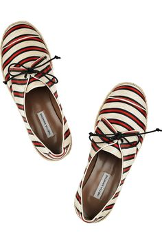 Tabitha Simmons / dolly striped linen and silk-blend flats $495.00