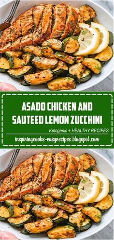 Asado Chicken and Sautéed Lemon Zucchini - #chicken #recipe #eatwell101 - Juicy and flavorful, this healthy chicken recipe is perfect for summer BBQ, memorial day cookout or any weeknight dinner. -#recipe by #eatwell101