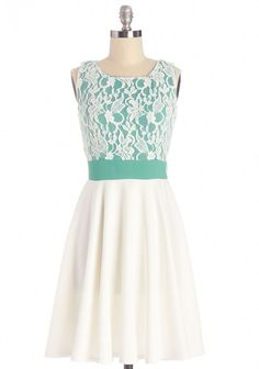 Groove You Right Dress - Green, White, Lace, Special Occasion, Prom, A-line, Sleeveless, Good, Scoop, Summer, Mid-length, Knit, Lace, Top Rated, Full-Size Run: