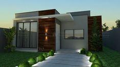 Casa C031: Projeto de casa com 2 quartos e 1 banheiro, além de cozinha e área de serviços. Pequena, porém com um visual moderno e uma planta funcional.