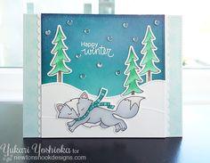 Happy Winter Fox Card by Yukari Yoshioka   Fox Hollow stamp set & die set by Newton's Nook Designs #newtonsnook #fox