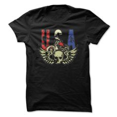 USA Motorcycle Skull and Wings T-shirt for Bikers