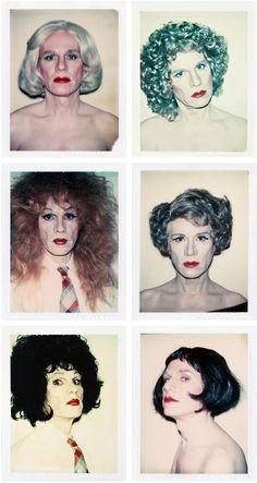 """Andy Warhol - Self Portraits in Drag (1981) """"Ich bin Viele"""" E.V.T ersetzt mit Bildserie aus Rembrant Buch"""