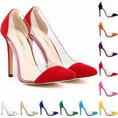 Calçados Femininos - Saltos - Saltos / Bico Fino - Salto Agulha - Preto / Azul…