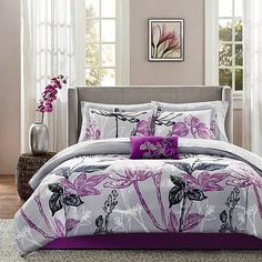 9 Piece Purple Complete Comforter Bedding Set Bed in a Bag Only 10 In Stock Order Today! Product Description: Outfit your bed from headboard to foot board with this nine-piece bed set made of easy-car Complete Bedding Set, Comforter Sets, Bedding Sets, Purple Bedding, Bedroom Set, King Comforter Sets, Luxury Bedding, Purple Decorative Pillows, Twin Comforter Sets