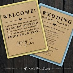 Wedding Welcome Note Itinerary Double Sided Custom Printable Wedding Welcome Bag…