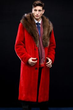 Leather Trench Coat, Leather Coats, Leather Jacket, Red Leather, Mens Fur, Long Winter Coats, Fur Collars, Male Fashion, Furs