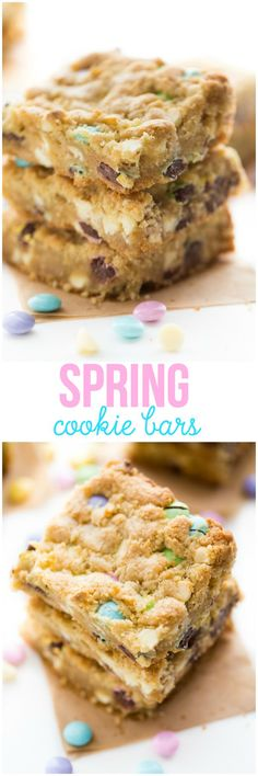 Spring Cookie Bars - Sweet, chewy cookie bars baked to golden brown perfection! They are packed with yummy white chocolate chips and M&M's in pretty pastels. Get the recipe here!