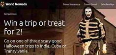 World Nomads, Intrepid Travel & BootsNAll want you to enter once for a chance to win a Halloween themed vacation to your choice of India, Cuba or Transylvania! Even if you don't think you… Win A Trip, India Travel, Halloween Themes, Cuba, Competition, Vacation, World, Memes, Vacations