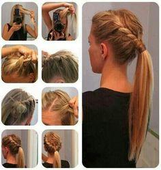 Peinado. Coleta para cabello largo.