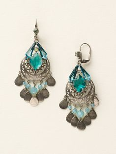 Stamped Metal and Crystal Chandelier Earrings - Clearance in Sea Glass - Sorrelli