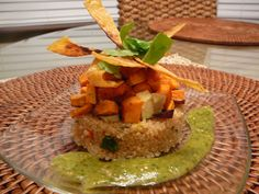 Quinoa, avocado, and sweet potato timbale with roasted tomatillo dressing ~ The Conscious Cook