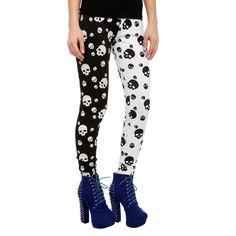 Teenage Runaway Split Leg Skulls Leggings   Hot Topic ($29) ❤ liked on Polyvore