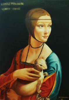 La dama con l'ermellino, Riproduzione Leonardo da Vinci Opera, Mona Lisa, Artwork, Painting, Work Of Art, Opera House, Auguste Rodin Artwork, Painting Art, Artworks